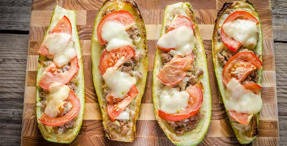 Squash fylt med kjøtt og grønnsaker